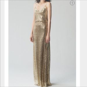 Jenny Yoo Jules Blouson Sequin Gold Gown Size 2